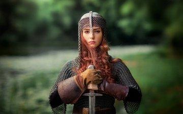 девушка, меч, взгляд, волосы, лицо, доспехи, рыжеволосая, ольга бойко