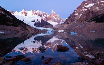озеро, горы, снег, отражение, аргентина, патагония, lago torre, los glaciares national park