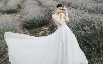 цветы, девушка, поле, взгляд, лицо, макияж, белое платье, невеста, jovana rikalo