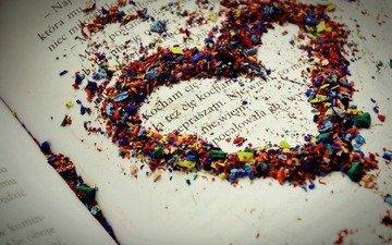разноцветный, сердце, любовь, текст, книга, стружка