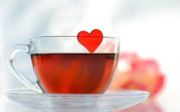 сердце, любовь, блюдце, чашка, чай