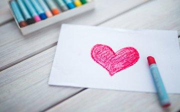 рисунок, разноцветные, сердце, любовь, мелки, деревянная поверхность