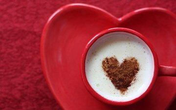 кофе, сердце, любовь, блюдце, чашка