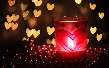 light, background, heart, love, beads, candle, hearts, bokeh
