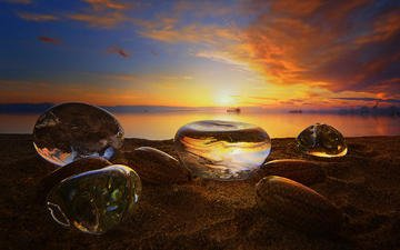 the sky, clouds, stones, sunset, sea, sand, beach, antonio amati