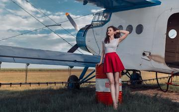 девушка, самолет, поза, взгляд, юбка, модель, волосы, лицо, фигура, andrea carretta, madalina
