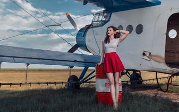 girl, the plane, pose, look, skirt, model, hair, face, figure, andrea carretta, madalina