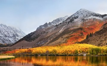 the sky, lake, mountains, nature, landscape, autumn, alps, high sierra