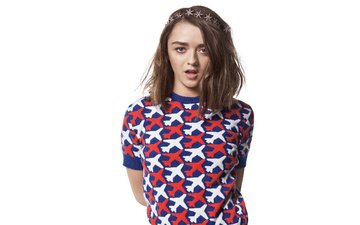 girl, look, hair, face, actress, white background, maisie williams