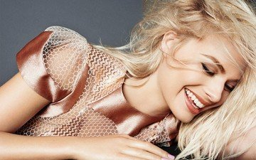 girl, blonde, smile, portrait, model, hair, face, makeup, closed eyes, margot robbie