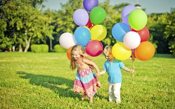 grass, trees, summer, children, girl, boy, balloons, maria pavlova
