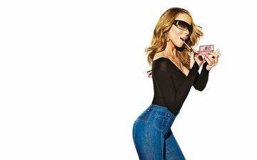 девушка, музыка, взгляд, очки, джинсы, волосы, лицо, актриса, певица, мэрайя кэри