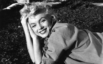 girl, smile, look, black and white, hair, face, celebrity, marilyn monroe