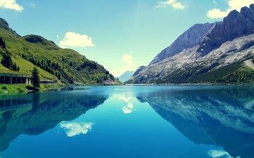 небо, облака, озеро, горы, отражение, италия, marmoleda