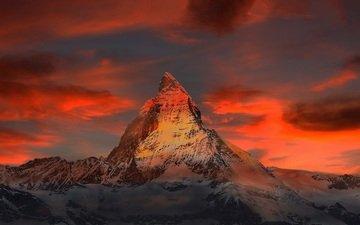 небо, облака, горы, природа, закат, швейцария, альпы, маттерхорн, снежная вершина горизонт