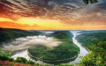 небо, облака, река, зелень, лес, туман, горизонт, германия, изгиб, петля
