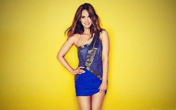 girl, smile, look, model, megan fox, hair, face, actress, blue dress