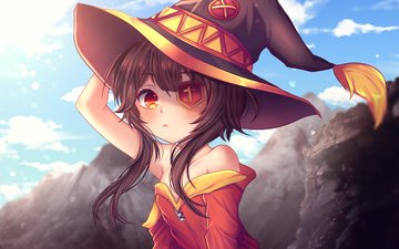 girl, look, hair, face, megumin, konosuba