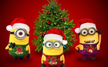tree, glasses, cartoon, hat, christmas, red background, cap, jumpsuit, minions, santa