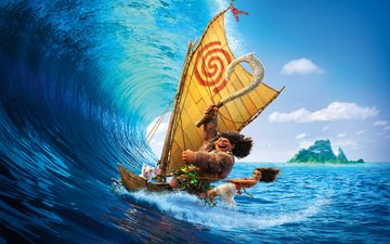 sea, weapons, wave, cartoon, boat, girl, tattoo, island, surfing, tropics, necklace, poster, adventure, sail, disney, animation, moana, maui, walt disney pictures, aboriginal