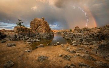 природа, молния, радуга, гроза, шторм, штат аризона, прескотт, watson lake