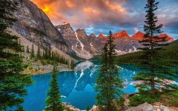 небо, облака, деревья, озеро, горы, отражение, канада, альберта, озеро морейн, национальный парк банф