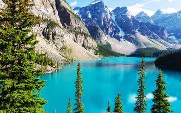небо, деревья, озеро, горы, канада, альберта, озеро морейн, национальный парк банф
