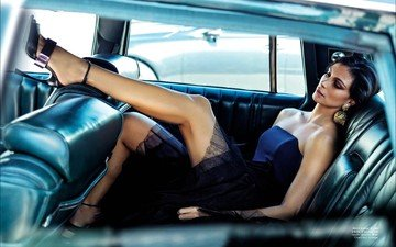 girl, pose, brunette, model, legs, actress, car, black dress, high heels, morena, baccarin, morena baccarin