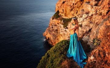 rocks, girl, sea, blonde, coast, skirt, model, wreath, miki macovei come with
