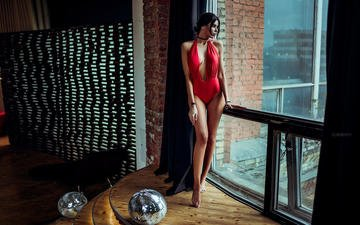 girl, interior, brunette, model, window, swimsuit, ivan gorokhov