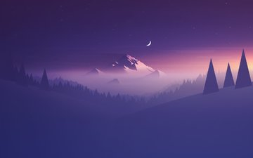 mountains, hills, abstraction, mountain, the moon, purple, minimalism