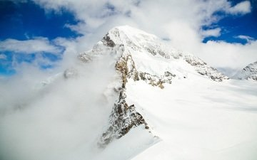 the sky, clouds, mountains, snow, landscape, top