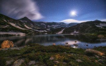 небо, облака, ночь, озеро, горы, звезды, луна, krasimir matarov