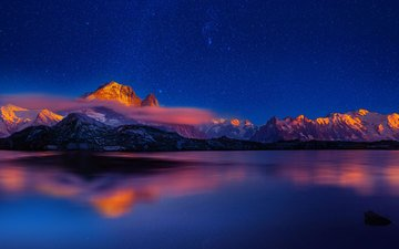 the sky, lake, sunset, reflection, stars, fog