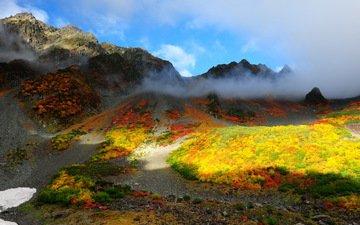 облака, горы, природа, пейзаж, осень, китай