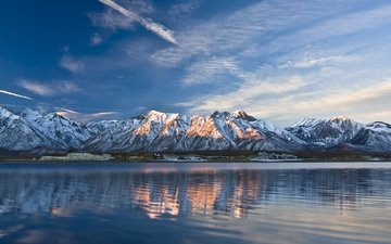 the sky, light, clouds, lake, mountains, wave, tops, ridge