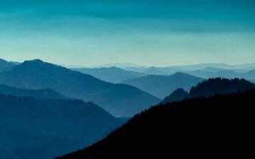 вечер, горы, холмы, пейзаж, вашингтон, сша
