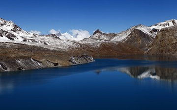 небо, облака, озеро, горы, снег, отражение