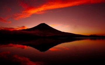 небо, озеро, закат, гора, япония, сумерки, вулкан, японии, фуджи