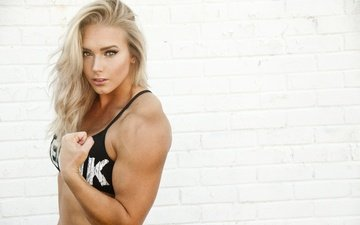 girl, pose, blonde, look, hair, face, muscle, charity witt