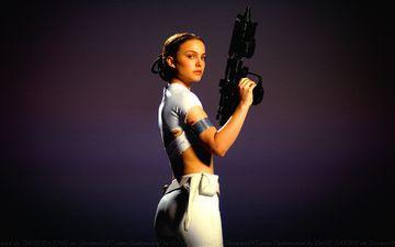 девушка, оружие, взгляд, фильм, волосы, лицо, актриса, звездные войны, натали портман, падме амидала