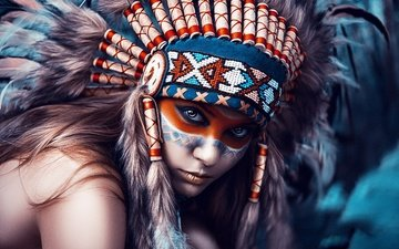 girl, look, hair, face, makeup, headdress