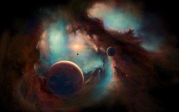 космос, планеты, туманность