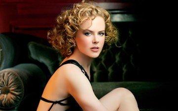 портрет, модель, лицо, актриса, голубые глаза, фотосессия, знаменитость, голые плечи, вьющиеся волосы, николь кидман