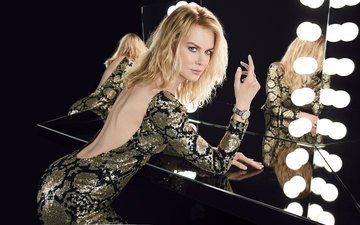 reflection, dress, blonde, mirror, black background, actress, nicole kidman