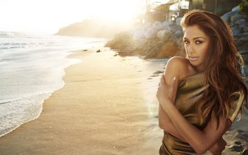 girl, sea, dress, pose, sand, beach, look, hair, face, singer, nicole scherzinger