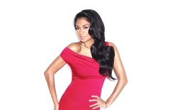 pose, brunette, actress, white background, singer, red dress, nicole scherzinger