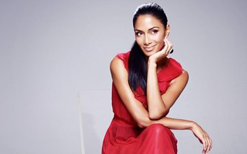 smile, brunette, singer, red dress, nicole scherzinger