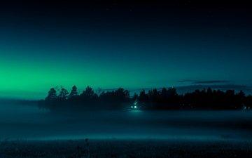 свет, ночь, пейзаж, туман, поле, дом