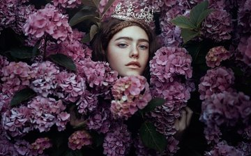 flowers, girl, look, face, princess, hydrangea, bella kotak, nymph